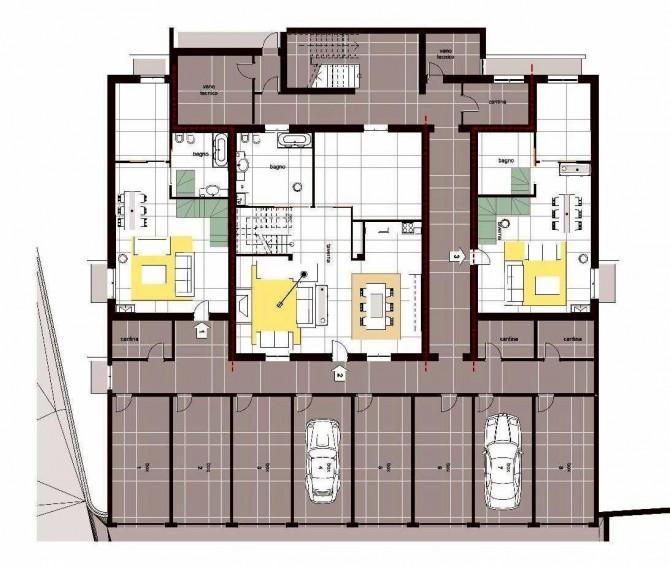 Piante appartamenti barasso g b edil s r l for 2 box auto con kit di appartamenti